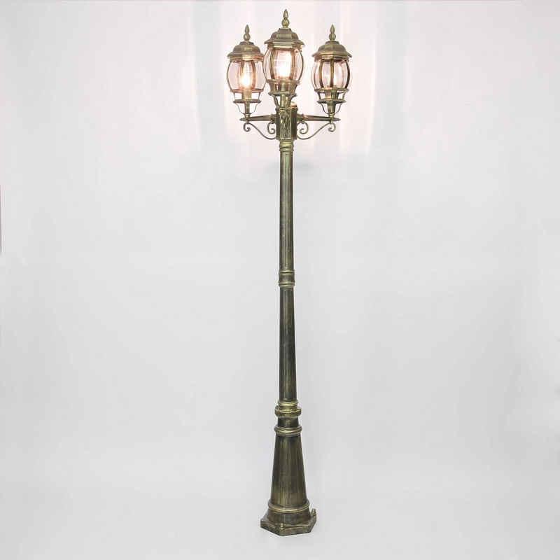 Licht-Erlebnisse Außen-Stehlampe »BREST«, Kandelaber Kupfer antik rustikal Straßenlaterne E27 Wegeleuchte Lampe