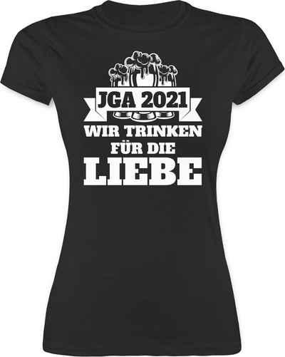 Shirtracer T-Shirt »JGA 2021 - Wir trinken für die Liebe - JGA Junggesellenabschied Frauen - Damen Premium T-Shirt« Junggesellinnenabschied Damen