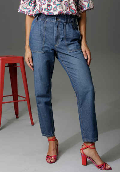 Aniston CASUAL Loose-fit-Jeans high waist mit bequemen Gummizugbund, Paperbag-Jeans