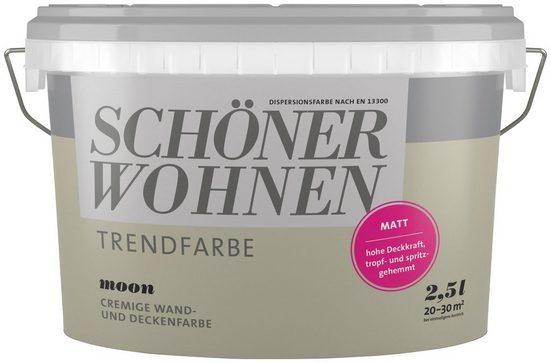 SCHÖNER WOHNEN-Kollektion Wand- und Deckenfarbe »Trendfarbe Moon, matt«, 2,5 l