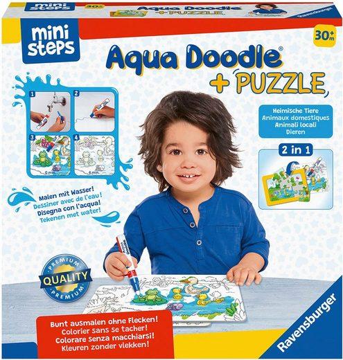 Ravensburger Kreativset »ministeps® Aqua Doodle® Puzzle: Heimische Tiere«, Made in Europe; FSC® - schützt Wald - weltweit