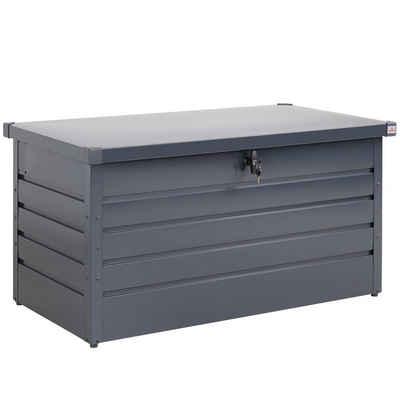 Gardebruk Auflagenbox, Metall 360L Anthrazit Abschließbar Wetterfest Gasdruckfeder Kissenbox Gartentruhe Gerätebox Garten Aufbewahrungsbox