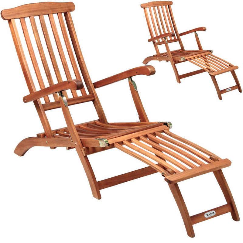 Deuba Gartenliege »Queen Mary« Liegestuhl Queen Mary Akazien Holz Garten Verstellbar Fußsegment klappbar Sonnenstuhl Deckchair Liege