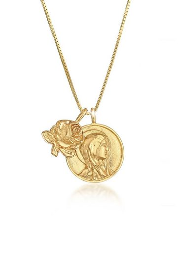 Elli Kette mit Anhänger »Münze Marienbild Rose Antike 925 Silber vergoldet«, Marienbild