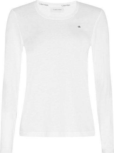 Calvin Klein Langarmshirt »LS SCOOP NECK TOP« mit Calvin Klein Monogramm Logo-Stickerei auf der Brust