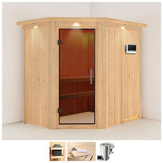 KARIBU Sauna »Saja«, 210x165x202 cm, 3,6 kW Plug&Play Bio-Ofen + Strg., Dachkranz