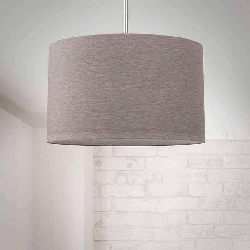 B.K.Licht Pendelleuchte, Hängeleuchte, LED Pendelampe Stoff Textilschirm Hängelampe Decke Esstisch Wohnzimmer E27 taupe