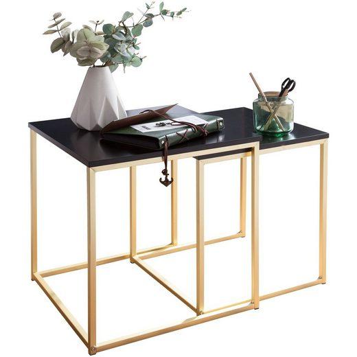 FINEBUY Satztisch »SuVa13972_1«, Satztisch KALA Beistelltisch MDF / Metall Couchtisch Set aus 2 Tischen Kleiner Wohnzimmertisch Metalltisch mit Holzplatte Ablagetisch modern