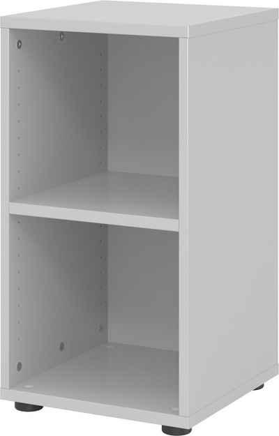 bümö Aktenregal »OM-924RE«, Büroregal, Bücherregal, Regal für Ordner, Akten & Bücher mit 2 Ordnerhöhen - Dekor: Grau