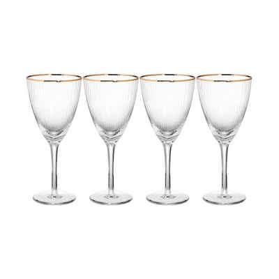 BUTLERS Weinglas »GOLDEN TWENTIES 4x Weinglas mit Goldrand 280ml«, Glas, mundgeblasen, 4x Weinglas mit Goldrand - Füllmenge 280ml - Glas mundgeblasen