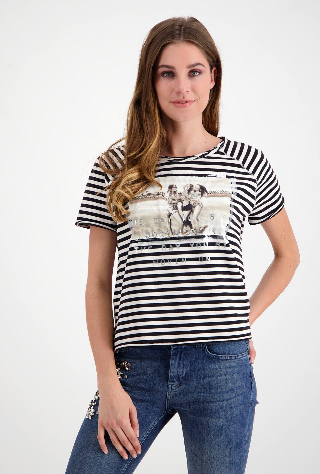 Monari Damen Shirt aus Sweatware offwhite mit Print
