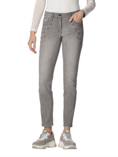 Amy Vermont Slim-fit-Jeans mit Strasssteindekoration