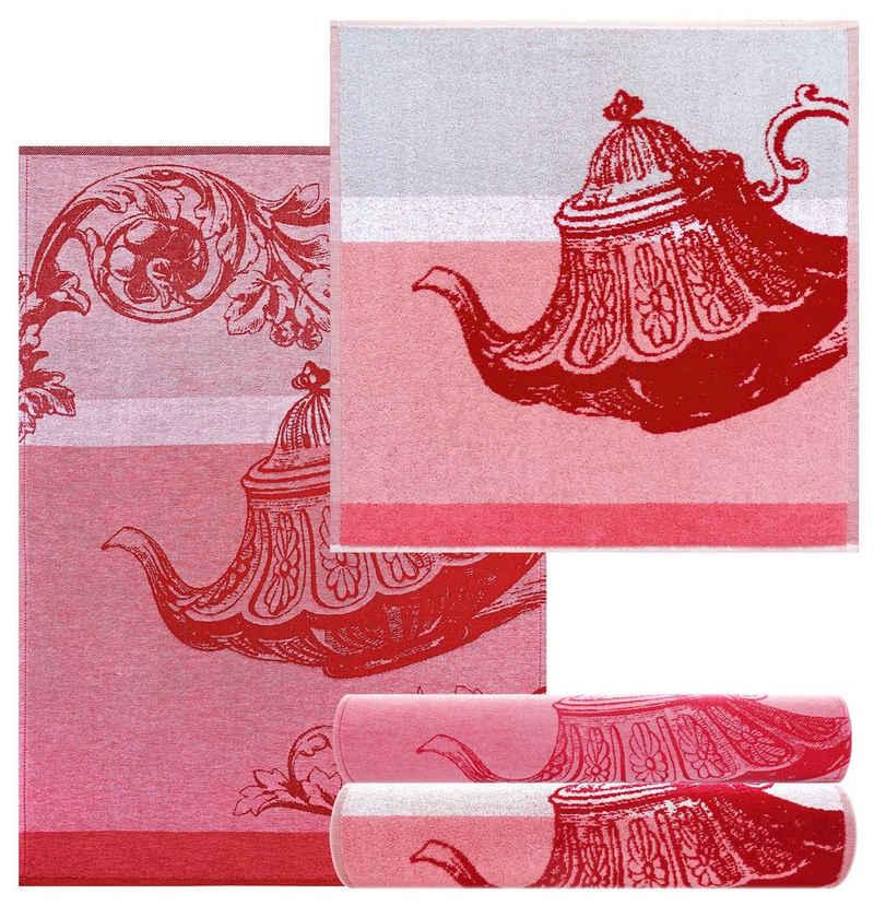 Lashuma Handtuch Set »Teekanne« (4-tlg), Küchentücher 2x 50x50, Baumwoll Geschirrtücher 2x 50x70
