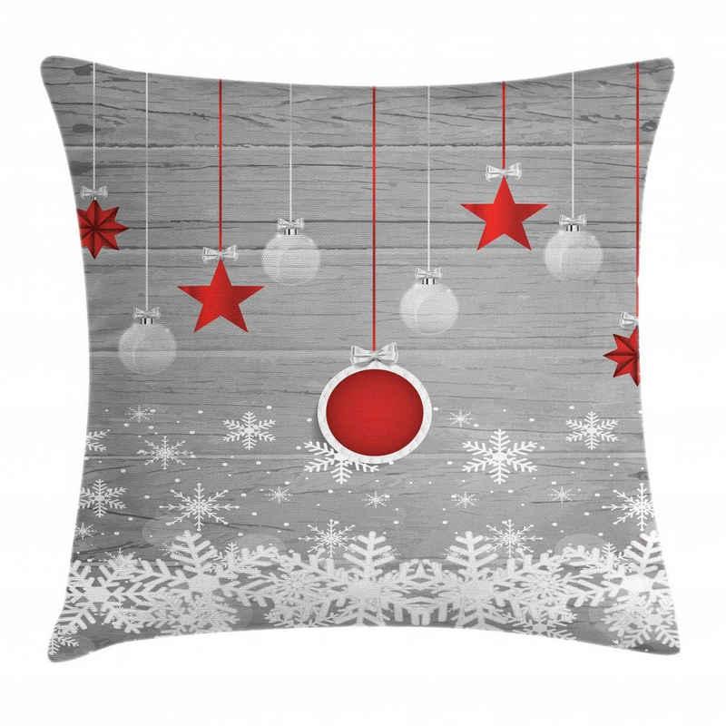 Abakuhaus Kissenbezug »Waschbar mit Reißverschluss Kissenhülle mit Farbfesten Klaren Farben Beidseitiger Druck«, Weihnachten Sterne-Flitter Schnee
