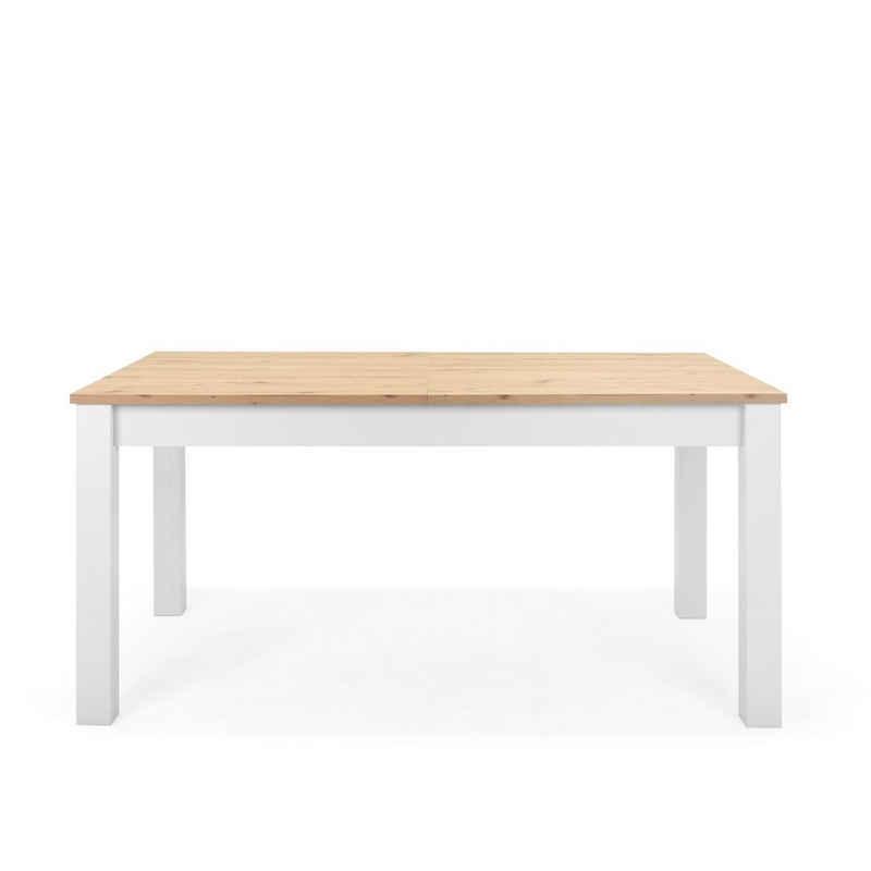 Newroom Esstisch »Eireen«, ausziehbar 160-215 cm inkl. Tischplatte Weiß Wildeiche Vintage Landhaus Küchentisch Speisetisch Esszimmer