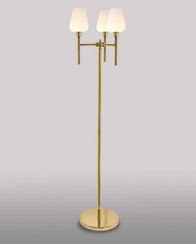 Licht-Erlebnisse Stehlampe »DALIA«, Stehleuchte Messing Glas H:135cm E27 Vintage handgefertigt Wohnzimmer