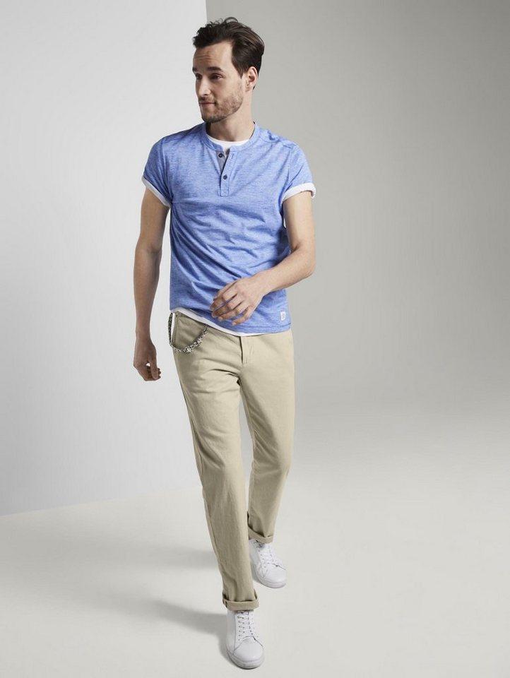 tom tailor -  Chinohose »Travis Regular Hose aus Leinengemisch mit Kordelband«