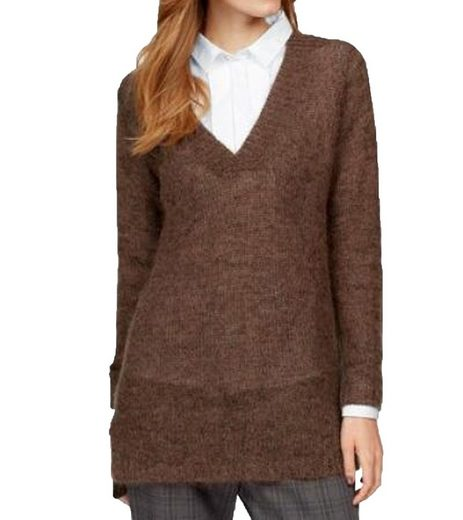 CLAIRE WOMAN Wollpullover »CLAIRE WOMAN Pullover Woll-Pulli kuscheliger Damen Strick-Pullover Frühlings-Sweater meliert Braun«