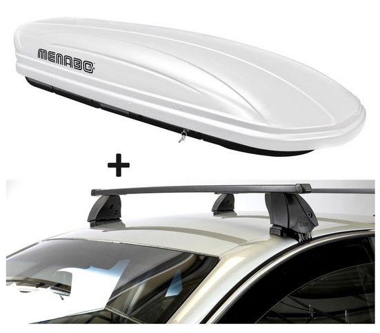 VDP Fahrradträger, Dachbox VDPMAA320 320 Liter abschließbar weiß + Dachträger K1 MEDIUM kompatibel mit Toyota Yaris (P1) (5Türer) 99-05