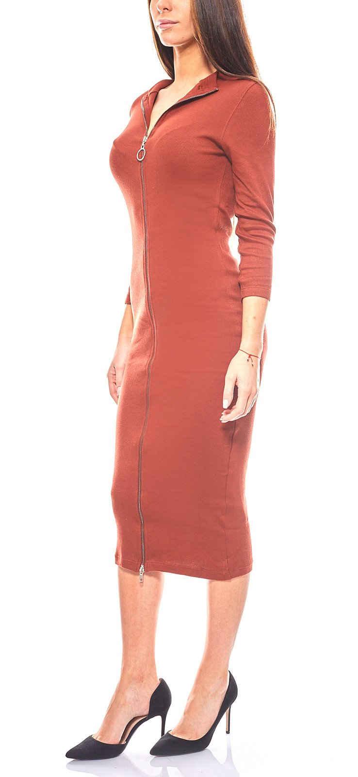 NA-KD Sommerkleid »NA-KD Rippstrickkleid elegantes Kleid mit Reißverschluss Freizeit Dunkelrot«