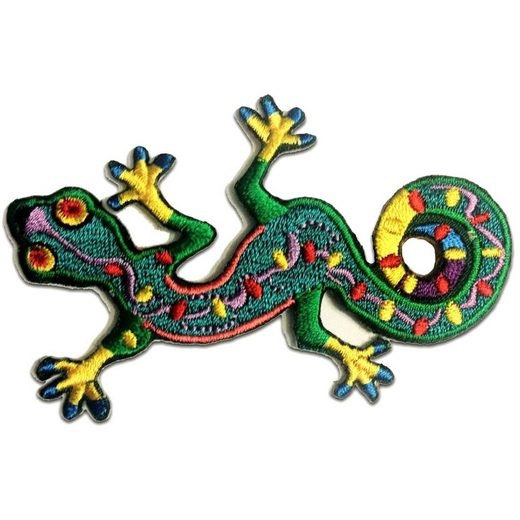 Catch the Patch Aufnäher, Polyester, Gecko Salamander Tier - Aufnäher, Bügelbild, Aufbügler, Applikationen, Patches, Flicken, zum aufbügeln, Größe: 9.4 x 6 cm