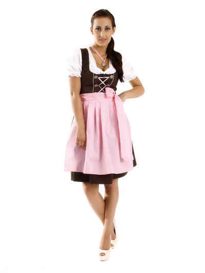 Almbock Dirndl »Mini Dirndl Rosi« (3-tlg) braun-rosa