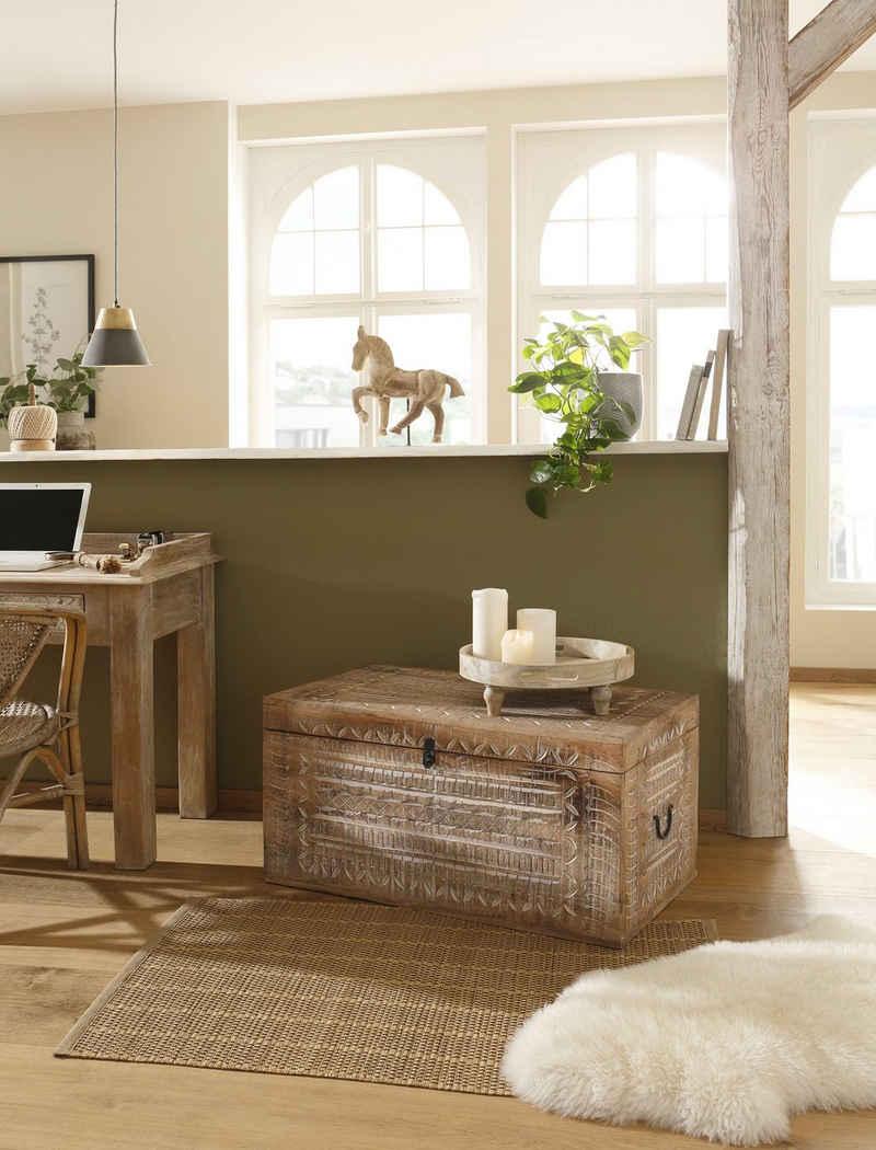 Home affaire Truhentisch »Maratea«, aus massiven, pflegeleichten Mangoholz, mit dekorativen Schnitzereien, Handgefertigt, Breite 90 cm