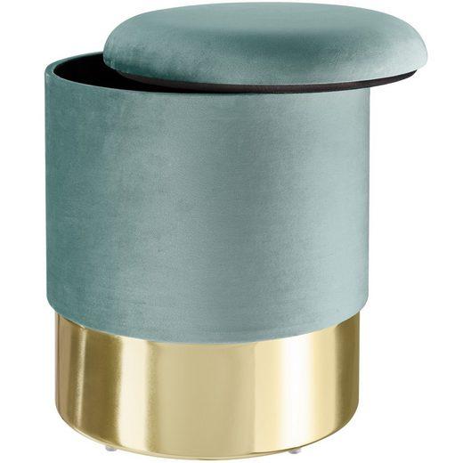 tectake Sitzhocker »Sitzhocker Sarina gepolstert in Samtoptik 300kg« (1 St)