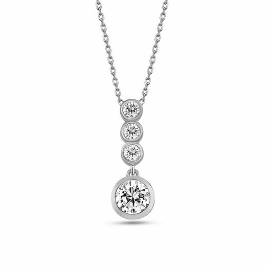 dKeniz Anhänger mit Kette »925/- Sterling Silber Kristall Kette«