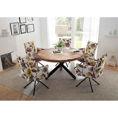 Lomadox Essgruppe »AMSTERDAM-119«, (Spar-Set), Esszimmergruppe mit rundem Tisch 6-tlg. Tischplatte aus Mango Wood, Armlehnenstühle im Retro Design