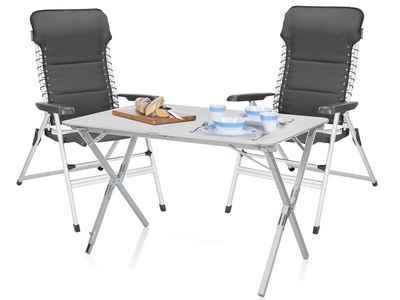 Campart Campingstuhl, Campingmöbel-Set mit 2x Hochlehner Klappstuhl und Tisch, Alu Relax-Stuhl XXL für Garten & Balkon, klappbare Outdoor-Stühle 2er Set gepolstert, Gartenstühle Set mit Rolltisch