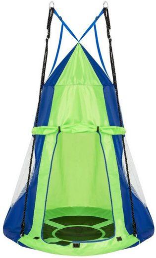 COSTWAY Nestschaukel »Gartenschaukel mit Zelt Kinderschaukel Tellerschaukel«, bis 150kg belastbar, mit Tür und Fenster, inkl. höhenverstellbarem hängendem Seil