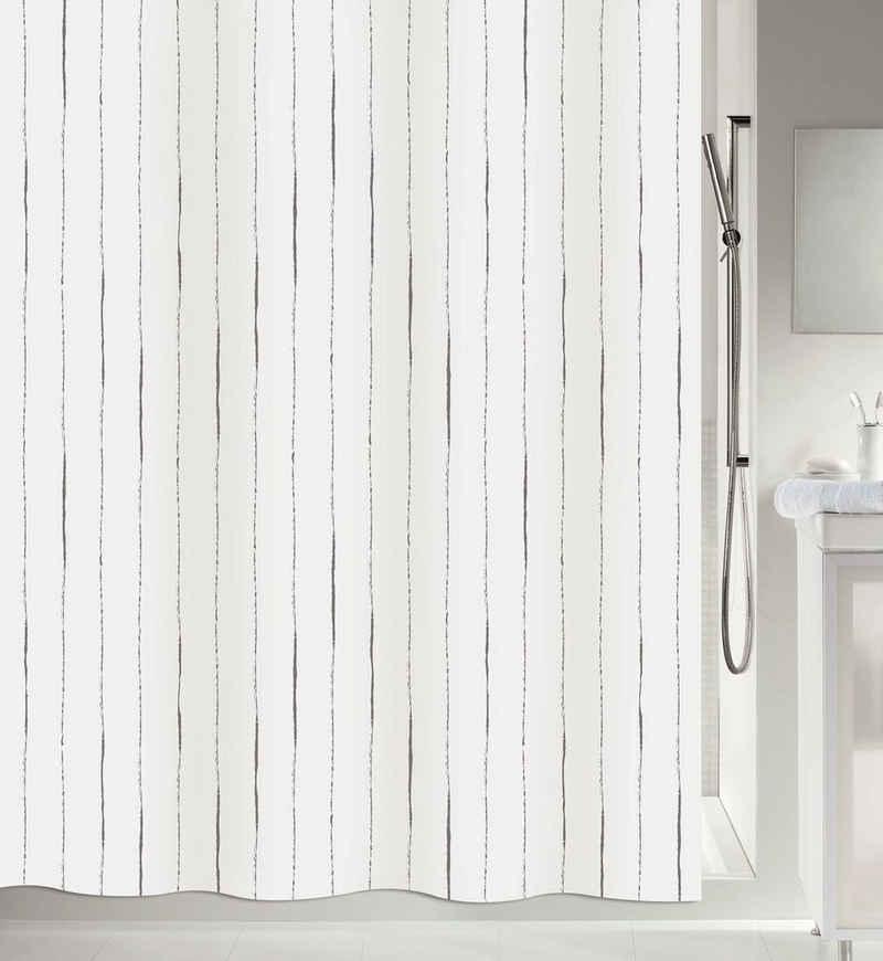 spirella Duschvorhang »ALINA« Breite 180 cm, Premium Textil-Duschvorhang, 100% Polyester, wasserabweisend, Anti-Schimmel-Effekt, waschbar 30°, Made in Europe, klassisches Design, Größe 180 x 200 cm