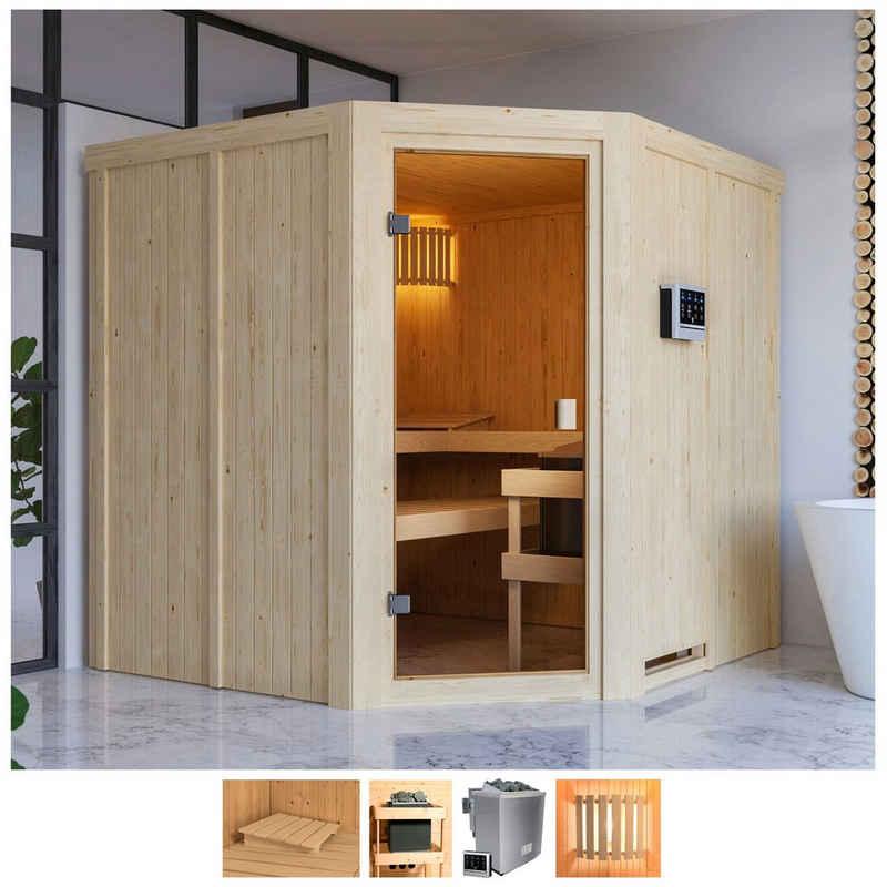 Karibu Sauna »Käthe«, BxTxH: 196 x 196 x 198 cm, 68 mm, 9-kW-Bio-Ofen mit ext. Steuerung