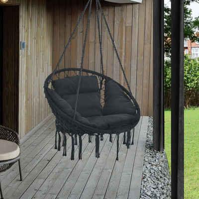 casa.pro Hängesessel, »Kailua« Hängestuhl mit Kissen ø60cm Schwarz