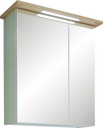PELIPAL Spiegelschrank »Salvie« Breite 60 cm, 2-türig, eingelassene LED-Beleuchtung, Schalter-/Steckdosenbox, Türdämpfer