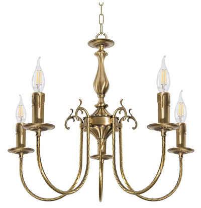Licht-Erlebnisse Kronleuchter »PETALO«, Pendelleuchte Messing in Bronze Jugendstil E14 Wohnzimmer Esszimmer