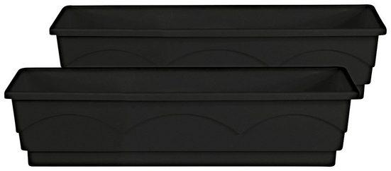 Emsa Blumenkasten »LAGO«, 2er-Set, BxTxH: 75x22x18 cm, anthrazit