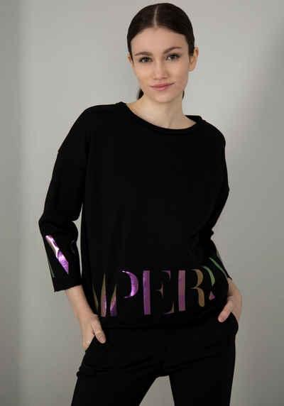 IMPERIAL Sweater »IMP-F 900ABWSIG« Sweat mit offenen Kanten und Glossy Logo - Print