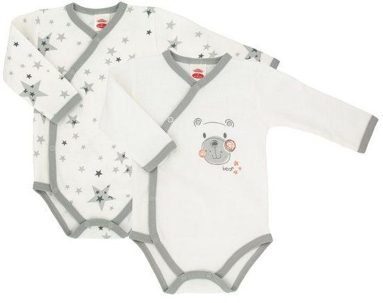 Makoma Langarmwickelbody »Baby Body Wickelbody Langarm Neutral Jungen & Mädchen Teddy« (Set, 2-tlg) 100% Baumwolle