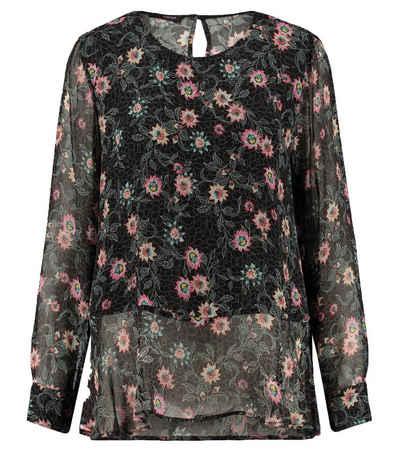 Cinque Blusentop »CINQUE Tunika-Bluse geblümtes Damen Bluse-Shirt aus semitransparentem Stoff Sommer-Bluse Schwarz«