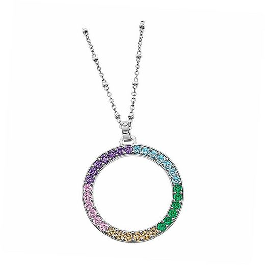 LOTUS SILVER Silberkette »JLP1963-1-2 Lotus Silver Kreis Halskette« (Halsketten), Damen Kette Kreis aus 925 Sterling Silber, silber, mehrfarbig
