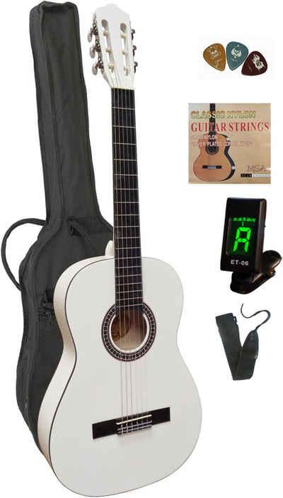 Konzertgitarre 4/4, inkl. Gitarrentasche, Gitarrengurt, Saiten, 3 Plektren und Stimmgerät