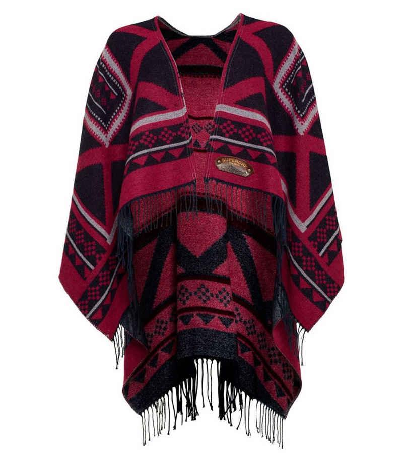 Superdry Poncho »Superdry Poncho lässiger Damen Sweater mit Ethno-Muster Winter-Poncho Navy/ Pink«