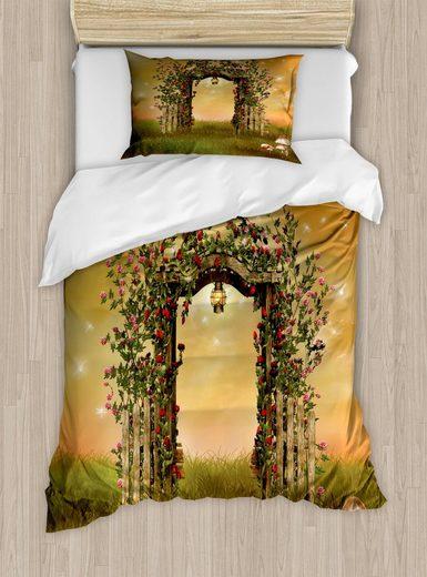 Bettwäsche »Top Qualität Weich und Warm 3 Teiligen Bettbezug mit 1 Kissenbezüge«, Abakuhaus, Rosen Garten-Kunst mit Blumen Zaun