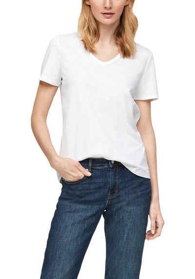 s.Oliver T-Shirt mit V-Ausschnitt und umgenähtem Saum