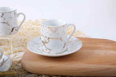 ZELLERFELD Espressotasse »12-tlg. Premium Espresso Kaffee-Service für 6 Personen Marmour Kaffeetasse mit Untertasse Teller Marmor Design kleine Tassen«