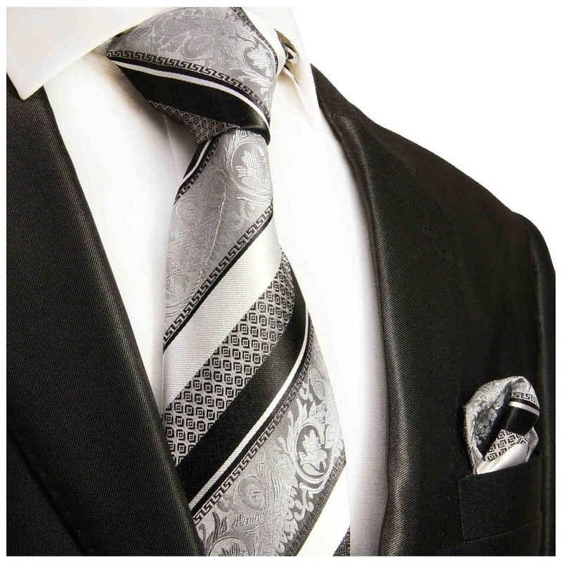 Paul Malone Krawatte »Herren Seidenkrawatte Schlips mit Tuch modern barock gestreift 100% Seide« (Set, 2-St., Krawatte mit Einstecktuch) Breit (8cm), silber schwarz 382
