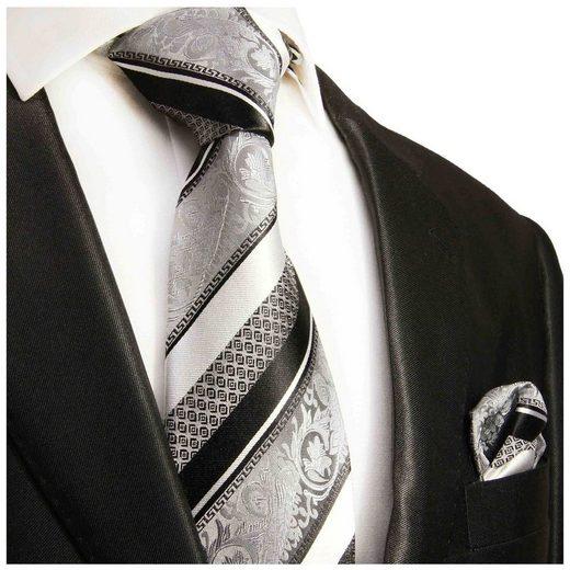 Paul Malone Krawatte »Herren Seidenkrawatte Schlips mit Tuch modern barock gestreift 100% Seide« (Set, 2-St., Krawatte mit Einstecktuch) Schmal (6cm), silber schwarz 382