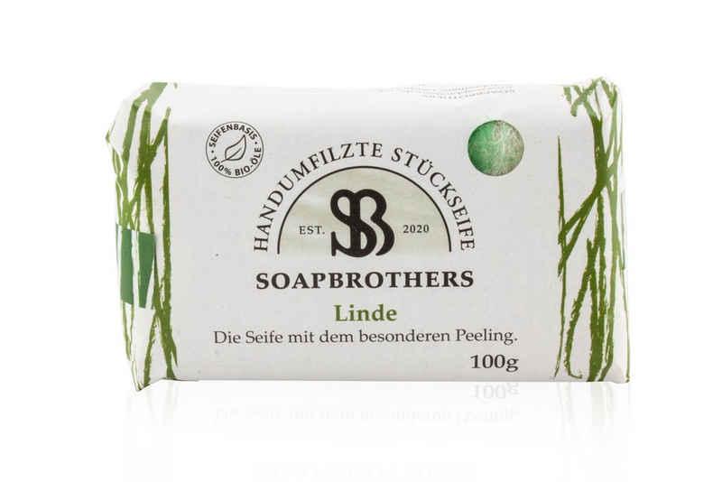 Soapbrothers Gesichtsseife »Naturkosmetik Bio Seife mit Filzmantel - Bis zu 4-mal ergiebiger als herkömmliche Stückseifen in nachhaltiger Verpackung - Linde 100g«, 1-tlg., Filzseife